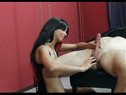 Mistress torturing and jerking bondaged men