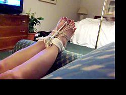 Barefoot tied feet girls cums w hitachi