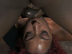 D.D. bronze ebony strapped down and fucked
