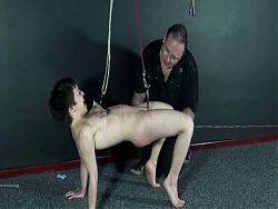 bdsm womans breasts and pussy are stretched by WF