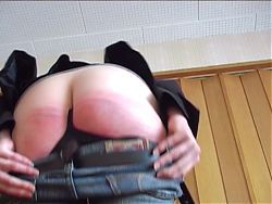 caned on her bare butt