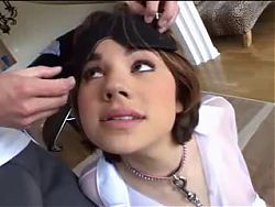 Firm young short hair brunette eager blowjob