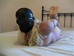 Big Chubby Blonde Hogtied, Hooded & Gagged In Bed