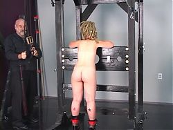 Cute sub blonde babe has some bondage and whipping fun with her master