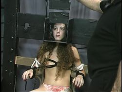 Cute brunette is bound, takes nipple torture in the dungeon